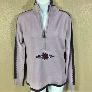 Athleta Half Zip Floral Embroidered Sweater S NWOT
